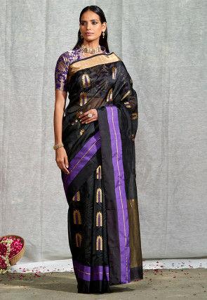Pure Chanderi Silk Handloom Saree in Black