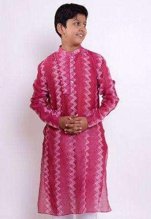 Pure Chanderi Silk Tie Dyed Kurta in Pink