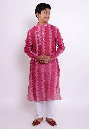 Pure Chanderi Silk Tie Dyed Kurta Set in Pink