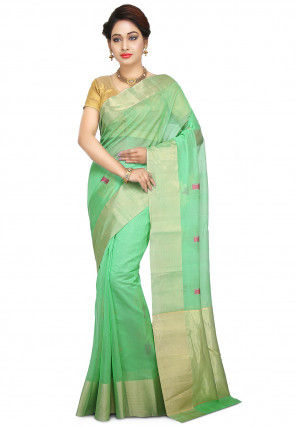 Pure Chanderi Silk Handloom Saree in Light Green