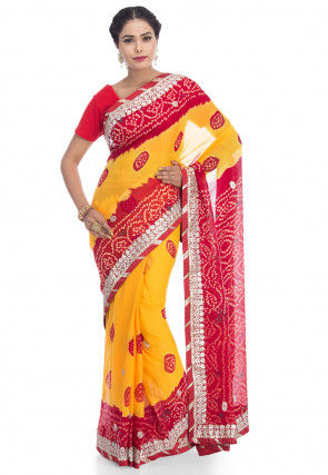 Pure Chinon Crepe Bandhani Saree in Yellow and Red