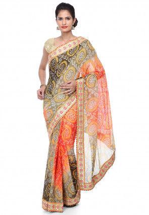Pure Chinon Crepe Bandhej Saree in Multicolor