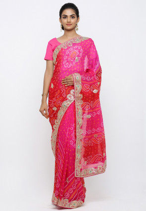 Pure Chinon Crepe Bandhej Saree in Shaded Fuchsia and Red