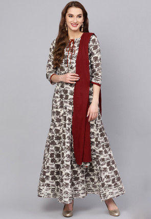Pure Cotton Printed Lehenga in Off White and Fawn