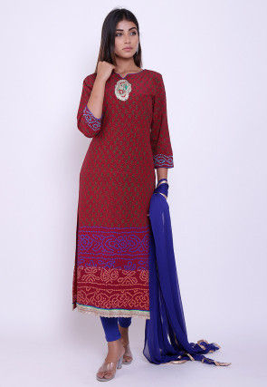 Pure Crepe Block Printed Straight Suit in Maroon