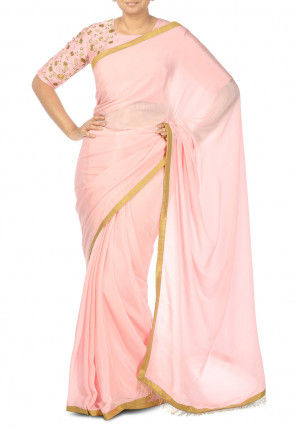 Pure Crepe Contrast Bordered Saree in Baby Pink