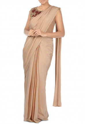 Pure Crepe Saree with Hand Embroidered Blouse in Light Beige