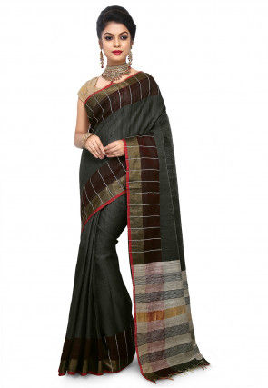 Pure Dupion Silk Handloom Saree in Charcoal