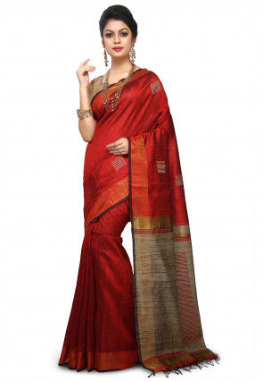 Pure Dupion Silk Handloom Saree in Maroon