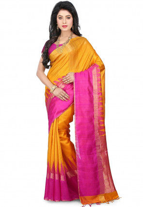 Pure Dupion Silk Handloom Saree in Mustard