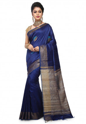 Pure Dupion Silk Handloom Saree in Navy Blue