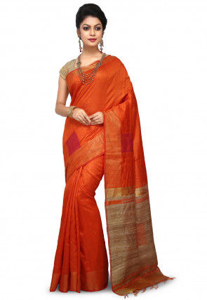 Pure Dupion Silk Handloom Saree in Orange