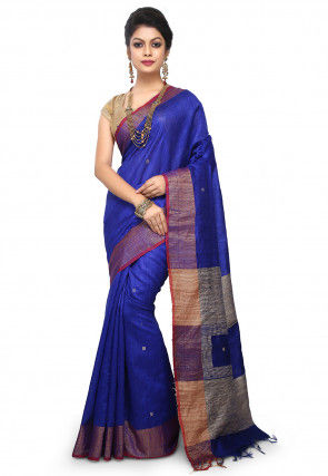 Pure Dupion Silk Handloom Saree in Royal Blue