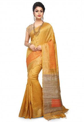 Pure Dupion Silk Handloom Saree in Yellow