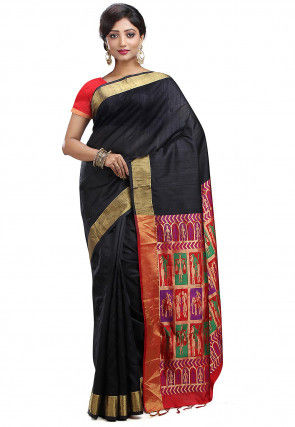 Pure Dupion Silk Kanchipuram Handloom Saree in Black