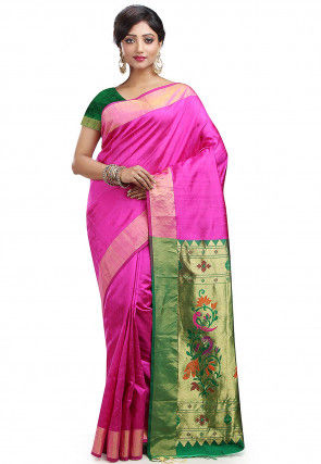 Pure Dupion Silk Kanchipuram Handloom Saree in Fuchsia