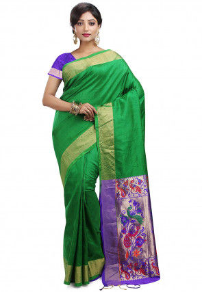 Pure Dupion Silk Kanchipuram Handloom Saree in Green