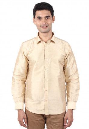 Pure Dupion Silk Shirt in Beige