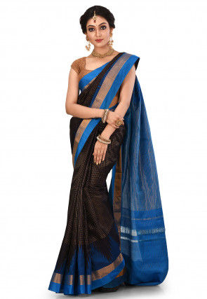 Pure Gadwal Silk Handloom Saree in Dark Blue