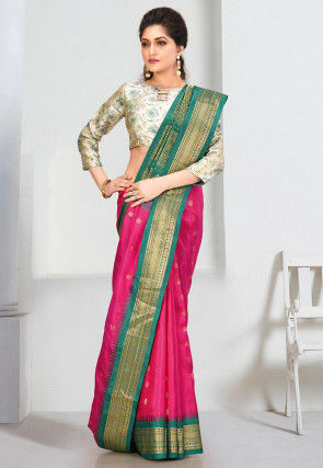 Pure Gadwal Silk Handloom Saree in Fuchsia
