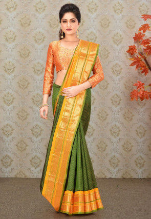 Pure Gadwal Silk Handloom Saree in Green