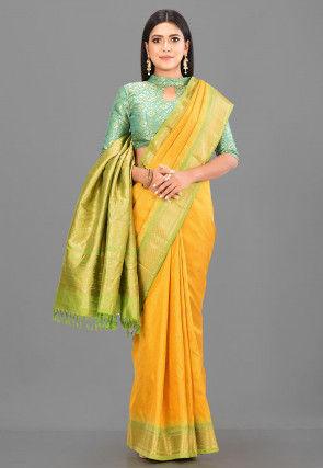 Pure Gadwal Silk Handloom Saree in Mustard