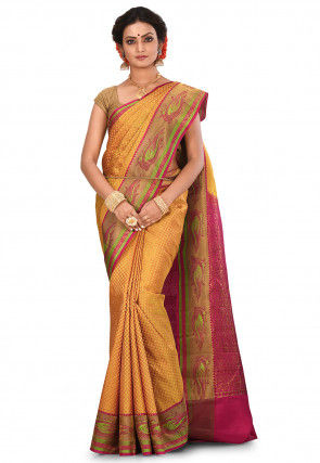 Pure Gadwal Silk Handloom Saree in Mustard