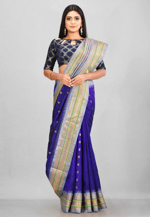 Pure Gadwal Silk Handloom Saree in Navy Blue
