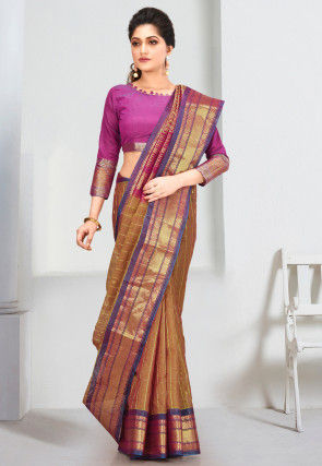 Pure Gadwal Silk Handloom Saree in Olive Green
