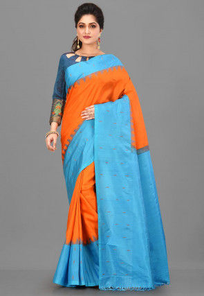 Pure Gadwal Silk Handloom Saree in Orange