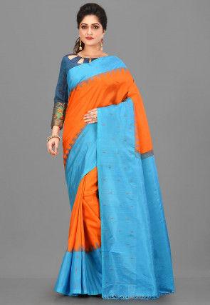 Pure Gadwal Silk Handloom Saree in Orange