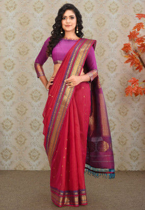 Pure Gadwal Silk Handloom Saree in Red