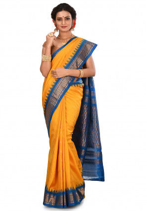 Pure Gadwal Silk Handloom Saree in Yellow