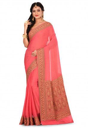 Pure Georgette Banarasi Silk Saree in Coral Pink