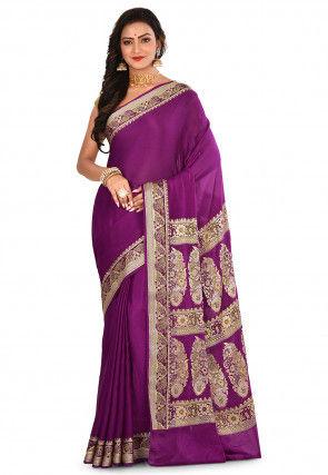 Pure Georgette Banarasi Silk Saree in Purple