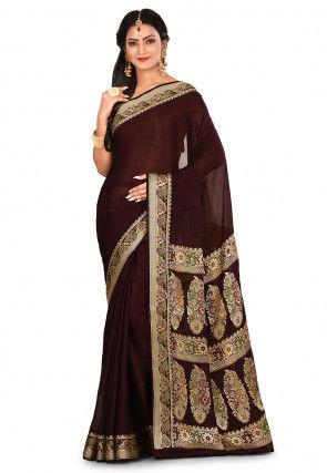 Pure Georgette Banarasi Silk Saree in Wine