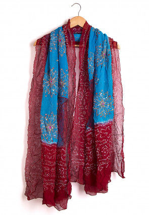 Pure Georgette Hand Embroidered Bandhej Dupatta in Blue and Maroon