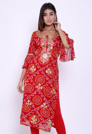 Pure Georgette Bandhej Straight Kurta in Red