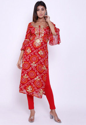 Pure Georgette Bandhej Straight Kurta Set in Red