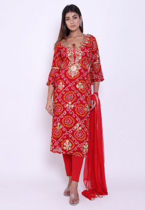 Pure Georgette Bandhej Straight Suit in Red