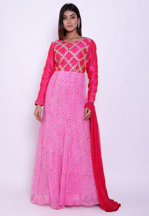 Pure Georgette Block Printed Abaya Style Suit in Pink and Fuchsia