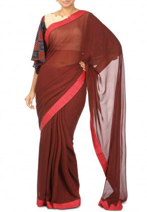 Pure Georgette Contrast Bordered Saree in Maroon
