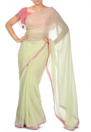 Pure Georgette Contrast Bordered Saree in Pastel Green