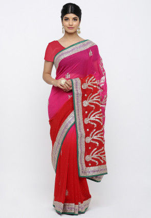 Pure Georgette Gota Patti Saree in Shaded Pink and Red
