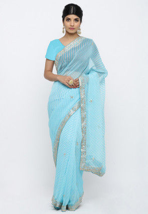 Pure Georgette Gota Patti Saree in Sky Blue