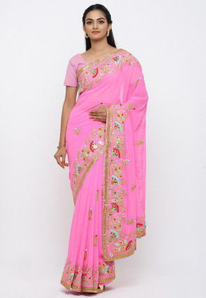 Pure Georgette Hand Embroidered Saree in Pink