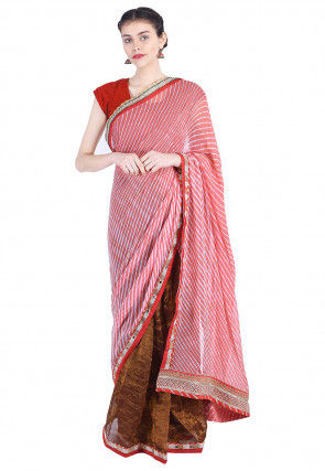 Pure Georgette Lehariya Saree in Peach and Brown