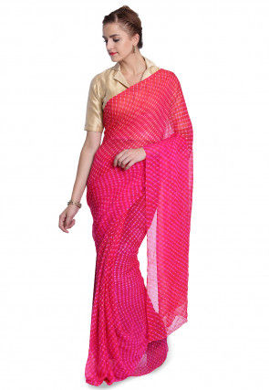 Pure Georgette Leheriya Saree in Fuchsia