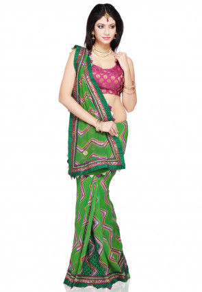 Pure Georgette Leheriya Saree in Green