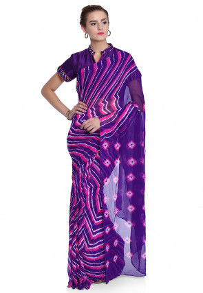 Pure Georgette Leheriya Saree in Purple